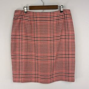 Talbot's Sz 16 Pink Houndstooth Wool Skirt